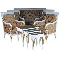 Empire Salon Seating Group with Side Tables Set Ameublement