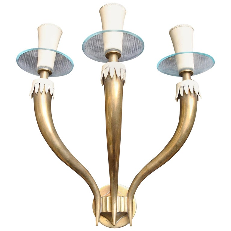 Italian Midcentury Wall Light After Gio Ponti for Fontana Arte in Brass, 1950s For Sale