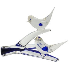Murano Glass Birds on Branch in Clear & Blue Color by Da Ros for Cenedese, 1970s