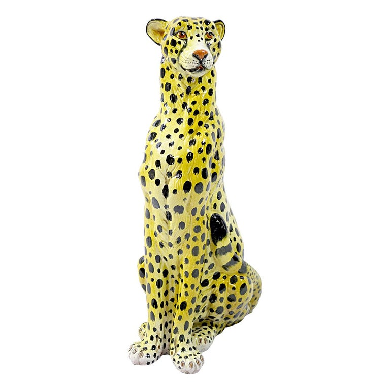 Midcentury Sitting Cheetah Made of Molded Ceramic, Marked X.MY For Sale