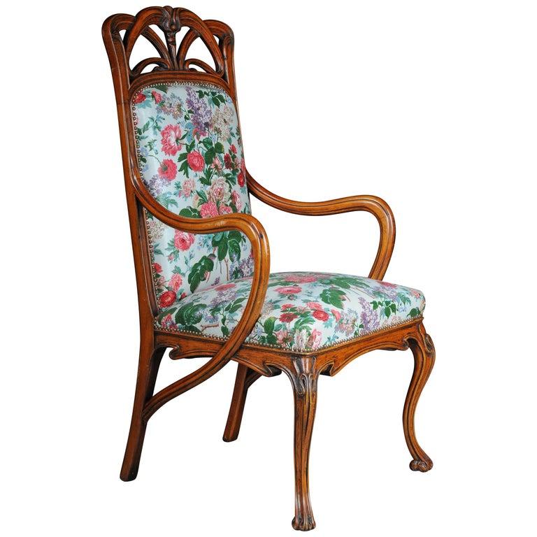 Beautiful Art Nouveau Armchair after L. Majorelle For Sale