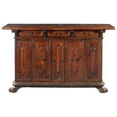 Late 17th Century Italian Carved Credenza in Solid Walnut Wood