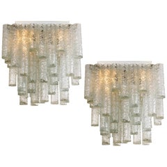 Pair of Hand Blown Square Flush Mount Chandeliers from Doria, 1960s