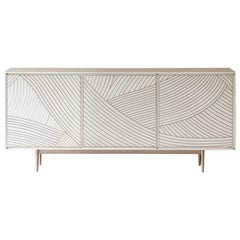 Bethan Gray Dhow Three-Door Cabinet Teal and Brass