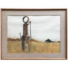 """1963 Eugene Conlon American Regionalist """"Farm Relic"""" Watercolor"""