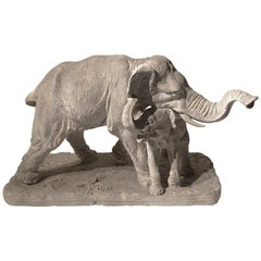 Early 20th Century Plaster Sculpture Depicting an Elephant with its Offspring