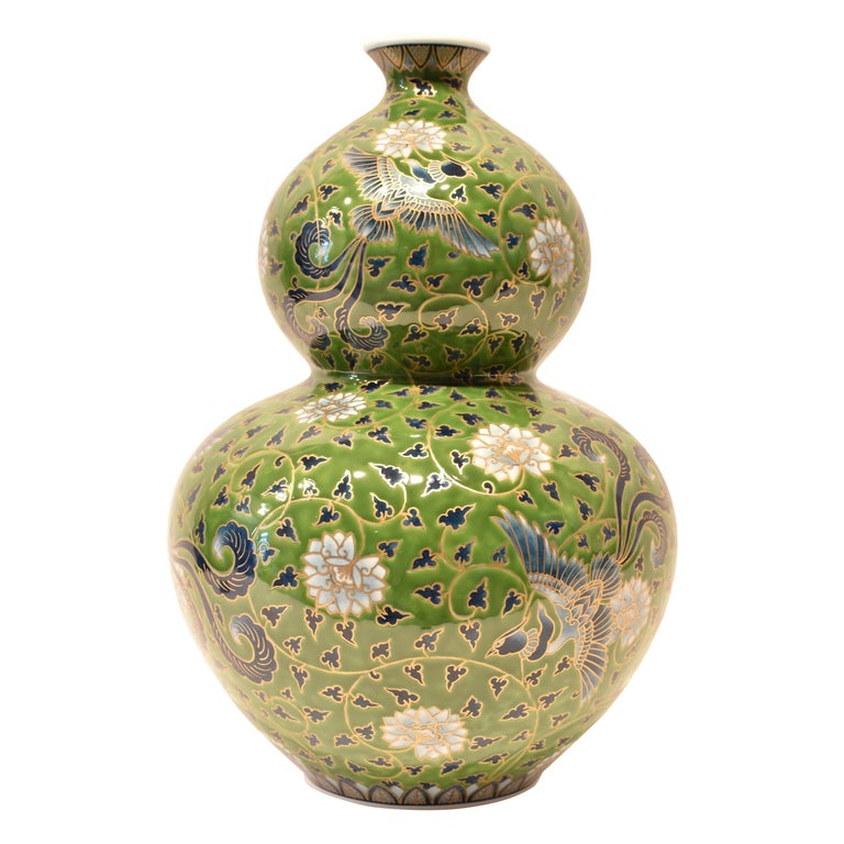 Japanese Large Green Contemporary Gilded Imari Porcelain Vase by Master Artist For Sale