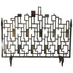 Cast Iron Cityscape Fireplace Screen