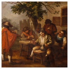 18th Century Oil on Canvas Flemish Painting Popular Scene with Characters, 1780