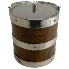 Antique English Oak and Silver Plate Biscuit Box / Ice Bucket, circa 1900