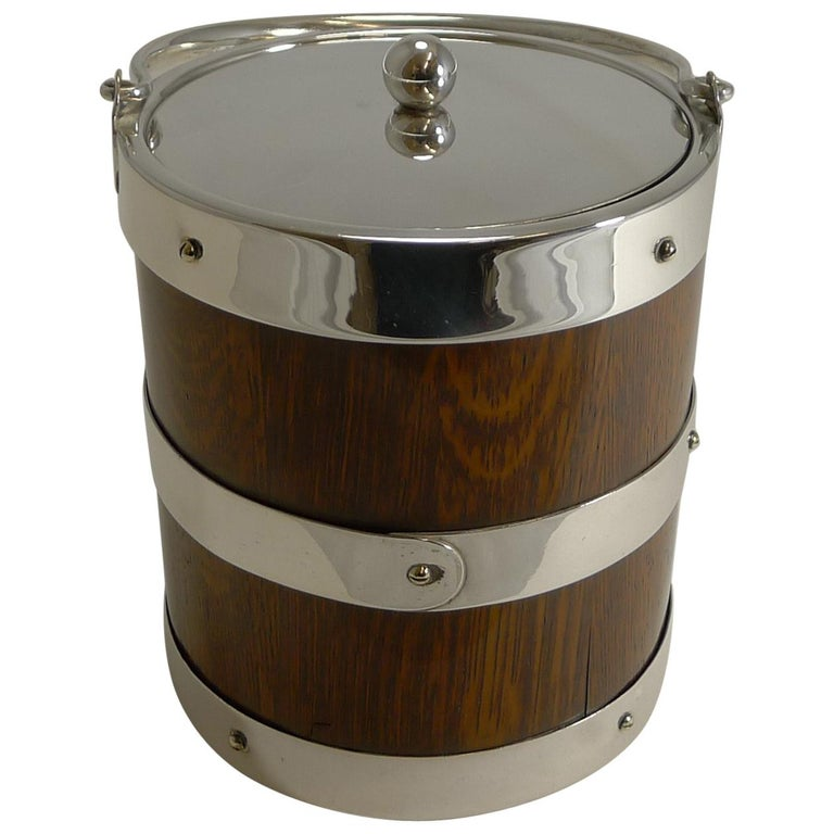 Antique English Oak and Silver Plate Biscuit Box / Ice Bucket, circa 1900 For Sale