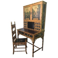Hand Painted Asian Chinoiserie Secretary Desk and Chair