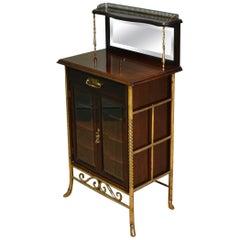 Sensational Victorian Arts & Crafts Walnut Antique Music Cabinet