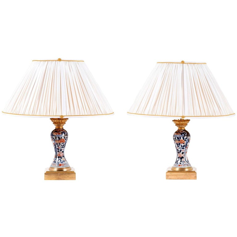 Pair of Porcelain Lamps with Imari Decor, Late 19th Century For Sale