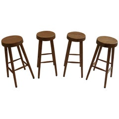 Set of 4 Hand Produced Pine Tall Stools from the 1970s