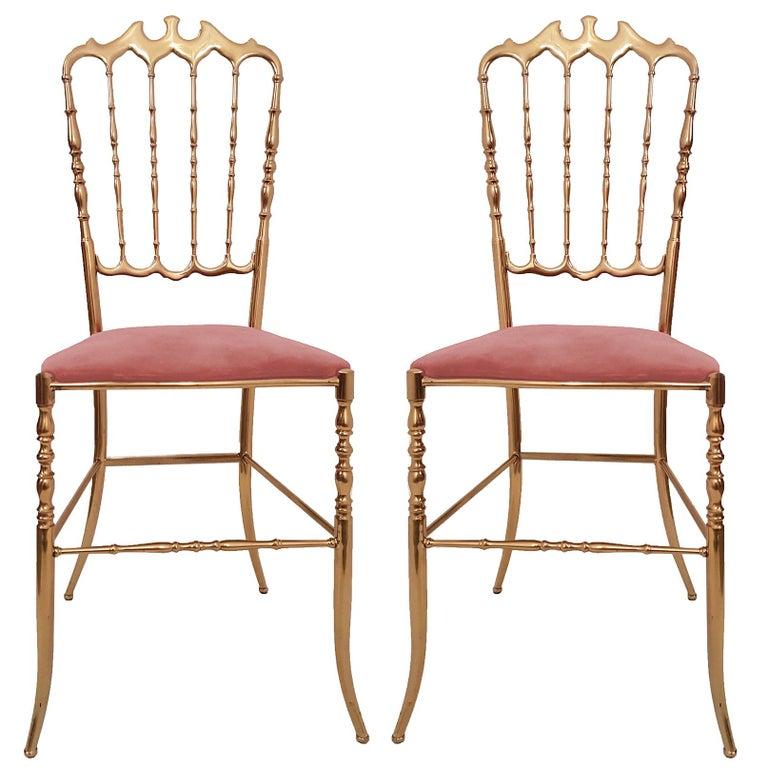 Pair of Italian Massive Brass Chairs by Chiavari, Upholstery Pink Velvet For Sale