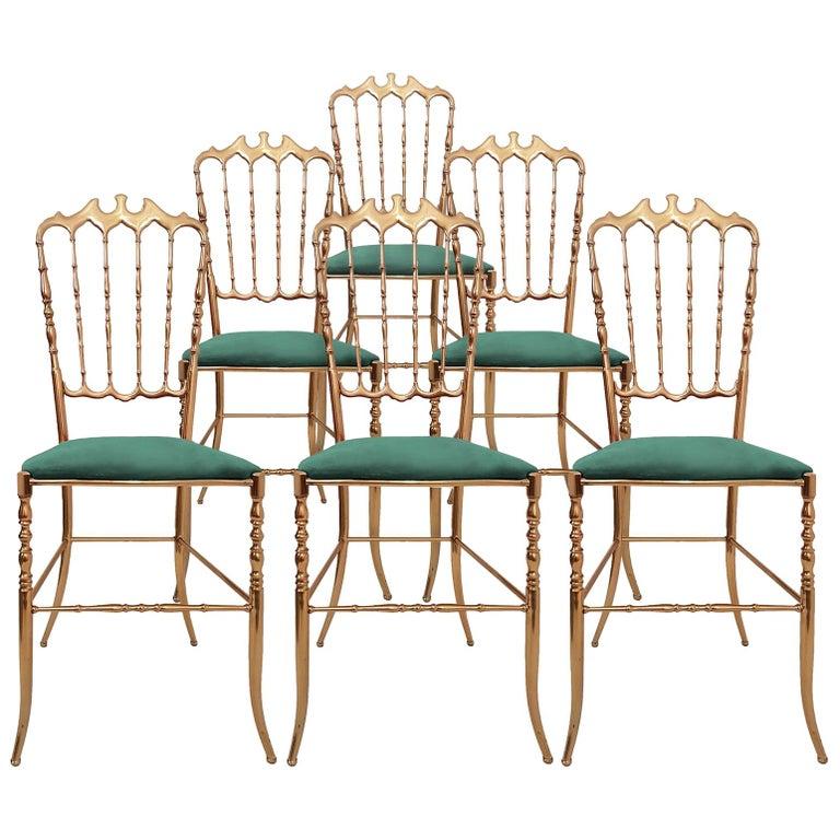 One of Six Italian Brass Chairs by Chiavari, Upholstery Emerald Green Velvet For Sale