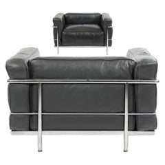Le Corbusier LC3 Grand Modele Armchair with Down Cushions, Anthracite