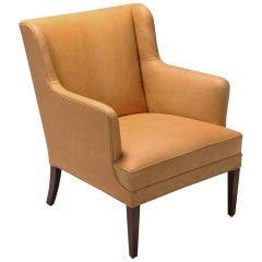 Camel Leather Danish Club Chair