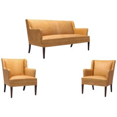 Scandinavian Modern Living Room Set in Camel Leather and Solid Frame