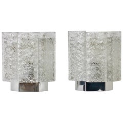 Pair of 1970s Vintage Frit Glass Wall Lights or Vanity Sconces by Doria Leuchten