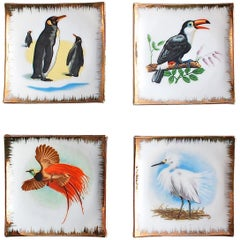 1960s Set of Four Bird Porcelain Wall Plates