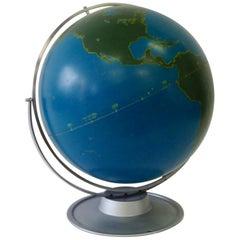 Large Nystrom Aluminum Rotating and Swivel Modernist Schoolhouse Globe