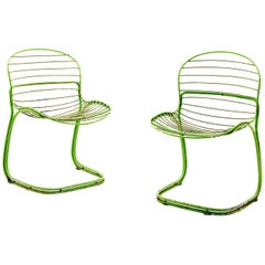 Chairs by Gastone Rinaldi, for RIMA, in Chromed Green Painted Metal, Italy, 1960