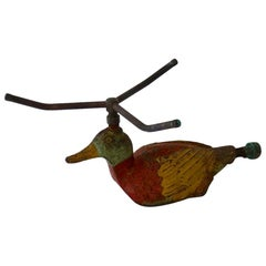 Folk Art Cast Iron Duck Form Lawn Sprinkler