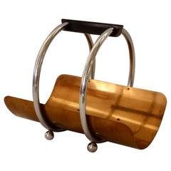 Revere Art Deco Machine Age Copper and Chrome Magazine Stand or Log Holder