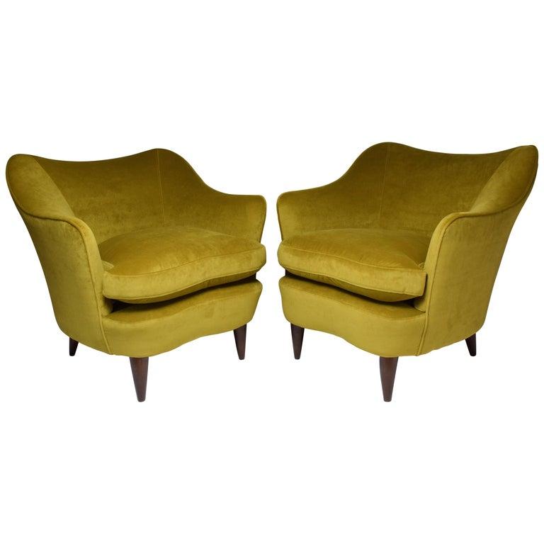 Pair of Italian Armchairs by Gio Ponti for Casa e Giardino, 1930s For Sale