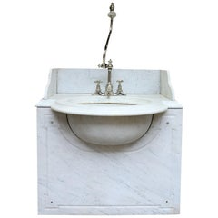 Antique George Jennings Carrara Marble Wash Basin / Sink