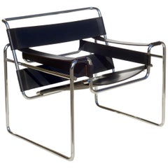 """Wassily"" Marcel Breuer by Gavina Bauhaus Design 1960s Black Leather Armchair"