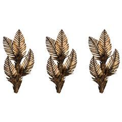 Brass Palm Tree Sconces, Set of Three