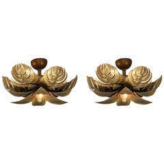 Maison Jansen Regency Pair of Brass Palm Sconces