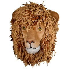 Faux Taxidermy Mounted Lion Head of Fabric and Yarn by E. Arnow, 1980