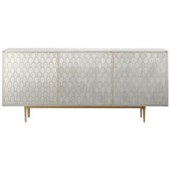Bethan Gray Nizwa Three Door Cabinet in White and Brass
