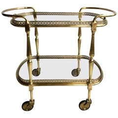 Large French Vintage Brass Drinks Trolley Bar Cart