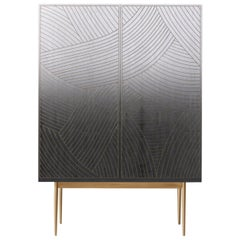 Bethan Gray Dhow Bar Cabinet Monochrome and Brass