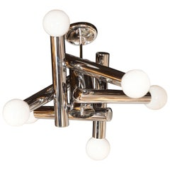 Midcentury Modern Sculptural Chandelier in Chrome and Frosted Glass by Sciolari