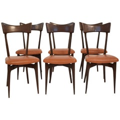 Set of Six Dining Chairs with Cognac Leather by Ico Parisi for Colombo, 1950