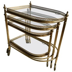 Beautiful Nest of Vintage Brass Tables/Trolleys