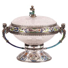 Viennese Enameled Silver and Rock Crystal Coupe and Cover by Herman Bohm