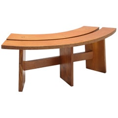 Pierre Chapo Style Curved Bench in Elmwood