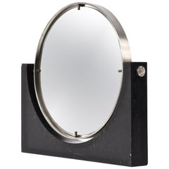 Italian Double Sided Mirror in Marble and Steel by Mangiarotti, Italy, 1960s