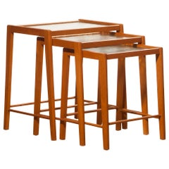 1960s, Set of Three Swedish Beech Nesting Tables