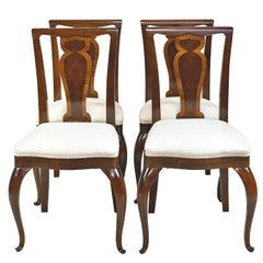 Set of 4 Mahogany and Walnut French Art Deco Dining Chairs, circa 1910-1920