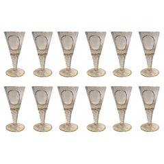 Set of 12 Crystal Fluted Wine Goblets with Gilt Rim and Detail