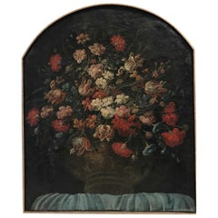 Floral Still Life Oil Painting with Arch Top in Wood Frame