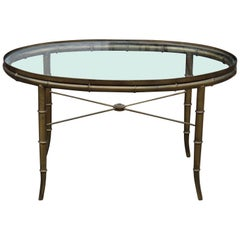 Hollywood Regency Italian Brass and Glass Oval Faux Bamboo Coffee Table